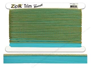 Kandi ZipR Trim Brass Teeth Aqua (10 yards)