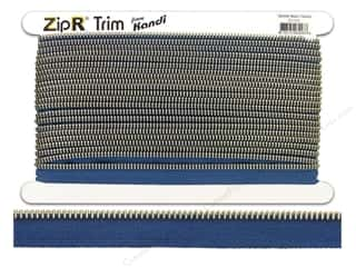 Kandi ZipR Trim Silver Teeth Denim Blue (10 yards)