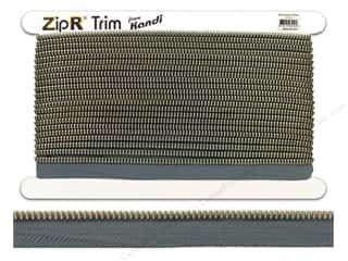 Clearance Kandi ZipR Trim: Kandi ZipR Trim Silver Teeth Dark Grey (10 yards)