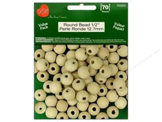 Lara's Wood Round Beads Value Pack 1/2 in. 70 pc.