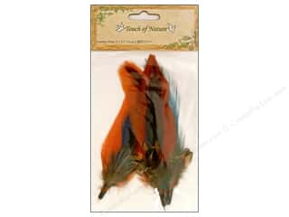 "Midwest Design Imports Flowers: Midwest Design Feather Pick 3.5"" Cinnamon/Blue/Olive 3pc"