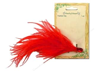 "feather trimming: Midwest Design Clip Feather Ostrich Decor 6-7"" Red"