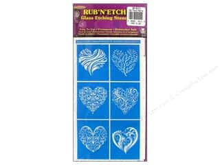 Armour Rub &#39;n&#39; Etch Stencil Fancy Hearts