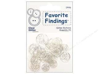 Glitter Clear: Blumenthal Glitter Buttons Clear 20 pc.
