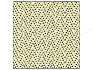 Anna Griffin Note Cards: Anna Griffin 12 x 12 in. Cardstock Fifi & Fido Flocked Herringbone Green/Pink (25 sheets)