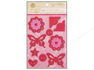 Anna Griffin Stickers: Anna Griffin 3D Stickers Lizzie Small Glitter Flowers