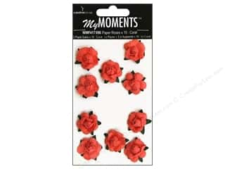 My Moments Embl Flower Paper Mini Roses Coral (3 packages)