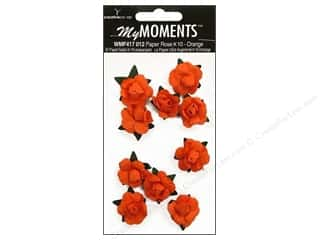Hot off the Press Embellishment Flowers / Blossoms / Leaves: My Moments Embellishment Flower Paper Mini Roses Orange (3 packages)