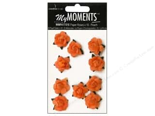 Hot off the Press Embellishment Flowers / Blossoms / Leaves: My Moments Embellishment Flower Paper Mini Roses Peach (3 packages)