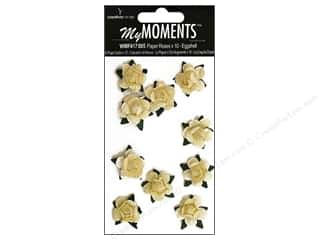 Hot off the Press Embellishment Flowers / Blossoms / Leaves: My Moments Embellishment Flower Paper Mini Roses Eggshell (3 packages)