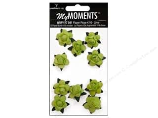 Hot off the Press My Moments Embellishment Flower: My Moments Embellishment Flower Paper Mini Roses Lime (3 packages)