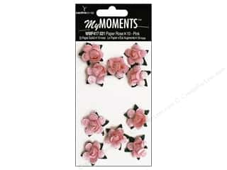 Cabbage Rose Hot Off The Press Paper Pack: My Moments Embellishment Flower Paper Mini Roses Pink (3 packages)