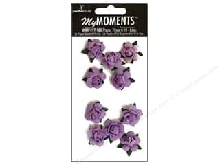 Hot off the Press Embellishment Flowers / Blossoms / Leaves: My Moments Embellishment Flower Paper Mini Roses Lilac (3 packages)