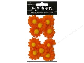 My Moments Embl Flower Fabric Mini Daisies Orange (3 packages)