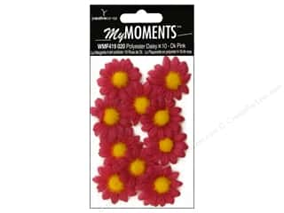 My Moments Embl Flower Fabric Mini Daisies Pink (3 packages)