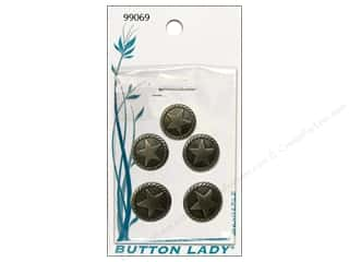JHB Button Lady Buttons 1/2 in Antique Silver Star 5 pc