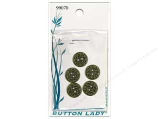 "JHB Button Lady Buttons Antique Brass 1/2"" 5pc"