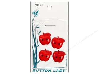 Fall / Thanksgiving mm: JHB Button Lady Buttons 3/4 in. Red Apple #99150 4 pc.