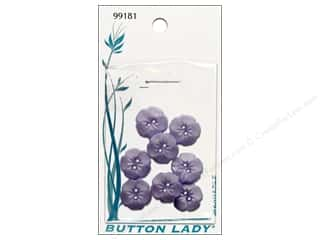 JHB Button Lady Buttons Lavender Flower 5/8&quot; 8pc