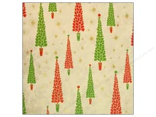 Anna Griffin Note Cards: Anna Griffin 12 x 12 in. Cardstock Twinkle Bright Trees Red (25 sheets)