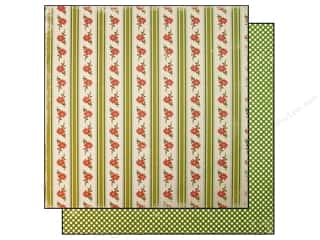 "Making Memories Paper 12""x 12"" Specialty Twinkle Poinsettia Stripe"