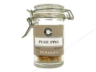 wood round ball: Canvas Corp Push Pins Hardware Jar Small Natural 40 pc.