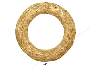 Fall / Thanksgiving Floral & Garden: FloraCraft Straw Wreath 24 in. Clear Wrap