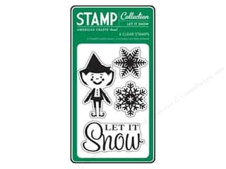 American Crafts Stamps Clear Hollyday Let It Snow