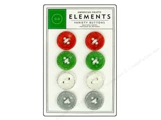 American Crafts Buttons Elements Hollyday Glitter