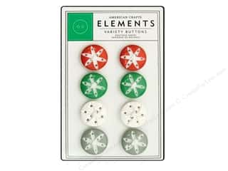 American Crafts Buttons Elements Hollyday Stars
