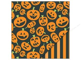 Scrapbooking &amp; Paper Crafts  Designer Papers &amp; Cardstock  Halloween: Bazzill Paper 12x12 Cackle Lanterns/Orange Stripes