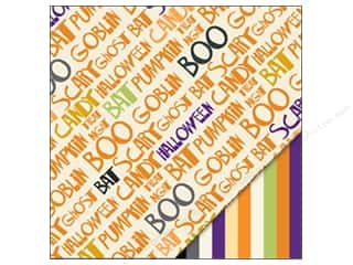 Halloween paper: Bazzill Paper 12x12 Hallowords/Multi Stripe