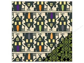 Sugar and Cream Printed Cardstock: Bazzill Paper 12x12 Spooky & Kooky Haunted House/Green Gate 25 pc.