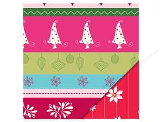 Holiday Sale Printed Cardstock: Bazzill Paper 12x12 Holiday Stripe/Pinstripe Poinsettia