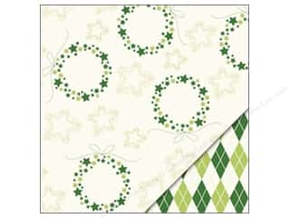 Holiday Sale Printed Cardstock: Bazzill Paper 12x12 Christmas Wreath/Argyle Green