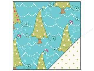 Holiday Sale Printed Cardstock: Bazzill 12 x 12 in. Paper Whimsy Trees/Green Dots 25 pc.