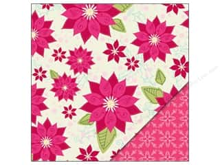 Holiday Sale Printed Cardstock: Bazzill Paper 12x12 Pretty Poinsettias/Snowflake Pink