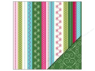 Holiday Sale Printed Cardstock: Bazzill 12 x 12 in. Paper Holiday Stitches/Stitched Green 25 pc.