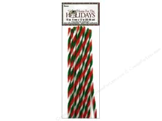 "Darice Chenille Stems 6mm 12"" Twist Red/Wht/Grn"