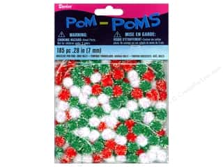 Darice Pom Poms 7mm Christmas Iridescent Multi 185pc