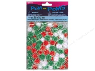10 mm pom poms: Pom Poms by Darice 3/8 in. Christmas Iridescent 110pc
