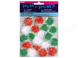 Darice Pom Poms 1 in. (25 mm) Christmas Iridescent Multicolor 20 pc.