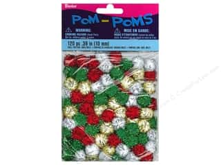 Pom Poms tinsel: Darice Pom Poms 10mm Christmas Tinsel Multi 120pc