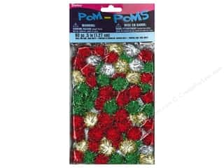 Basic Components Pom Poms: Darice Pom Poms 1/2 in. (13 mm) Christmas Tinsel Multicolor 80 pc.