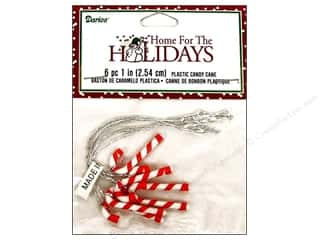 "Darice Holiday Decor Ornament Candy Cane 1"" Plastic 6pc"
