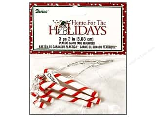 "Darice Holiday Decor Ornament Candy Cane 2"" Plastic 3pc"