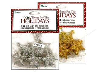 Darice Holiday Ornm Star 1&quot; Acrylic Gold/Silv 9pc