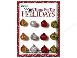 Darice Holiday Decor Ornament Ball 15mm Glitter Multi 12pc