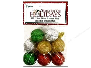 Darice Holiday Decor Ornament 20mm Glitter Multi 8pc