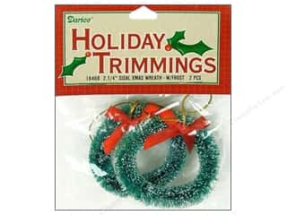 "Darice Holiday Decor Ornament 2.25"" Sisal Wreath Frost 2pc"